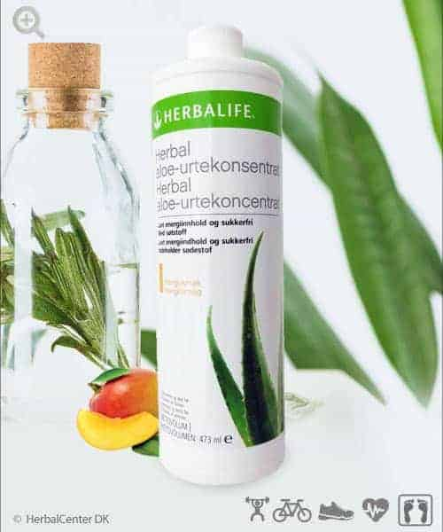 Herbal aloe-urtekoncentrat drik med mangosmag