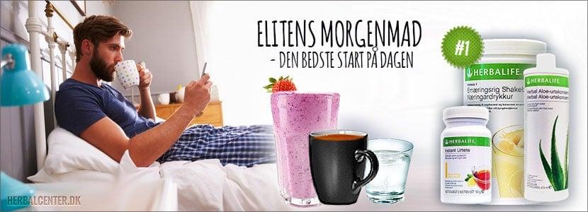 Herbalifes Elitens Morgenmad, protein shake, te og aloedrik