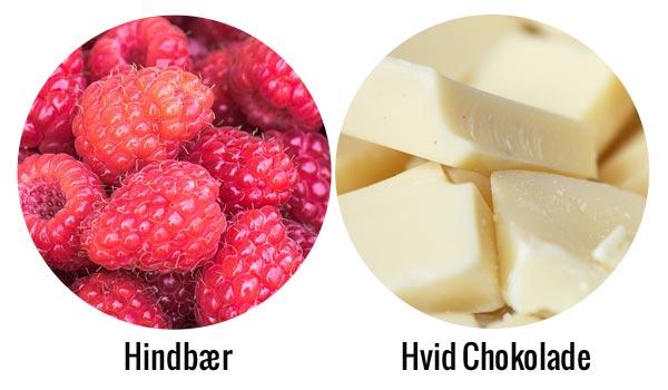 Hindbær og hvid chokolade protein shake ingredienser