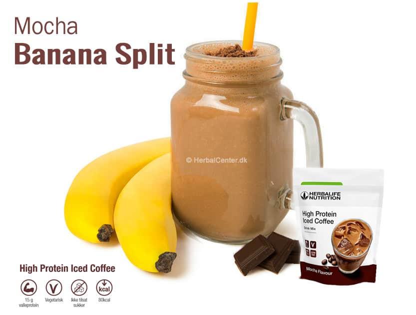 Iskaffe bananan split opskrifter med høj protein