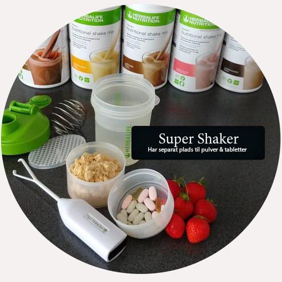 Super Shaker Har separat plads til pulver & tabletter